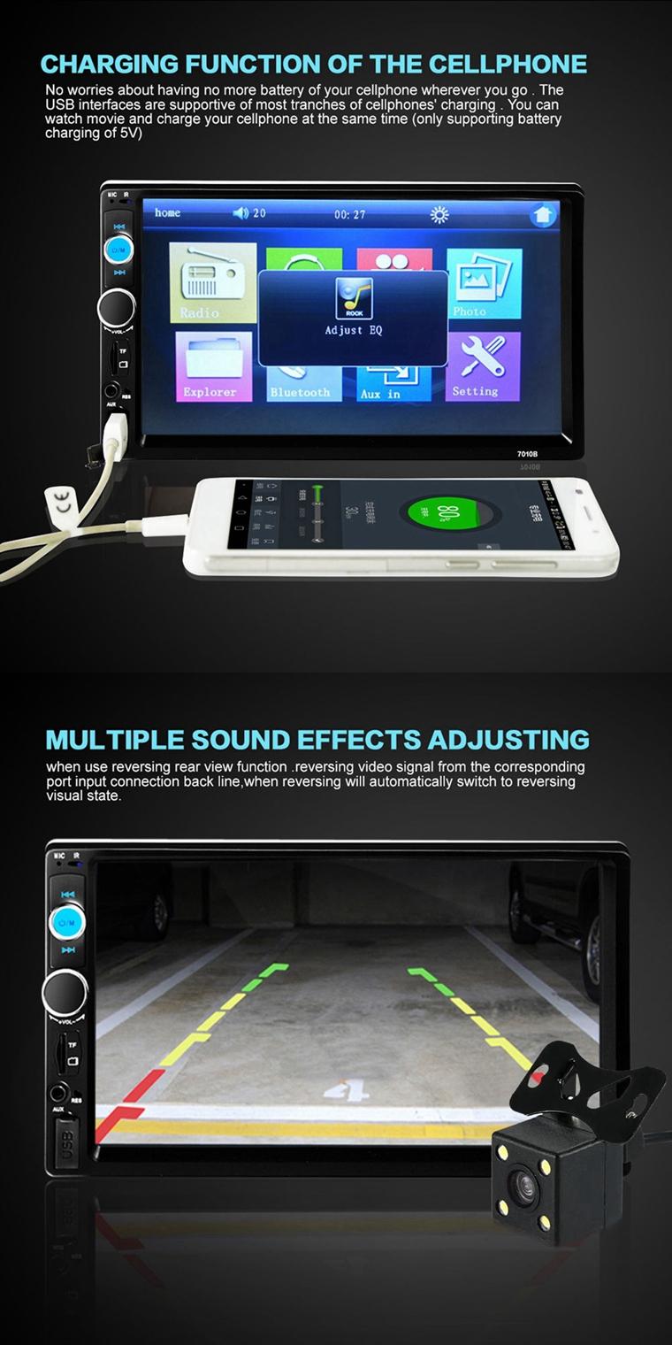 Reproductor MP3 MP5 Radio estéreo para automóvil de 7 pulgadas Reproductor MP3 FM AUX Full HD Bluetooth Cámara de visión trasera